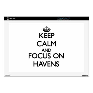 """Keep Calm and focus on Havens 17"""" Laptop Skins"""