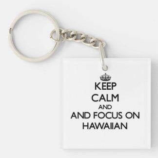 Keep calm and focus on Hawaiian Square Acrylic Keychain