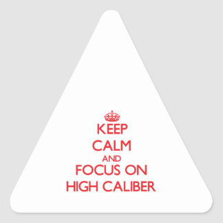 Keep Calm and focus on High Caliber Triangle Stickers