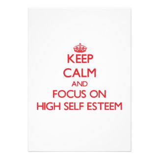Keep Calm and focus on HIGH SELF ESTEEM Custom Announcements