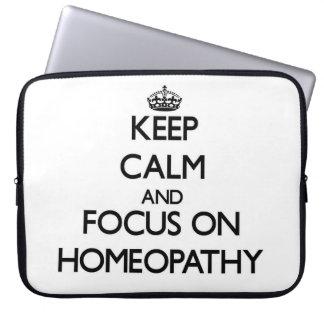 Keep Calm and focus on Homeopathy Computer Sleeve