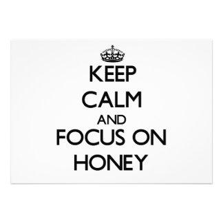 Keep Calm and focus on Honey Custom Announcements
