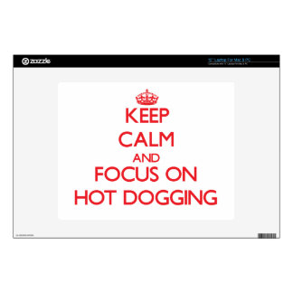 """Keep Calm and focus on Hot Dogging Decal For 12"""" Laptop"""