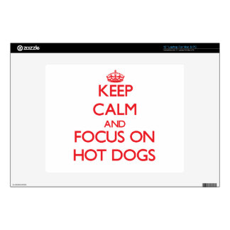 """Keep Calm and focus on Hot Dogs Decals For 12"""" Laptops"""