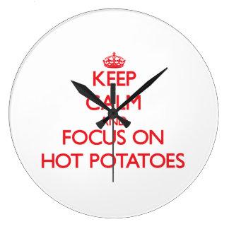 Keep Calm and focus on Hot Potatoes Wallclock