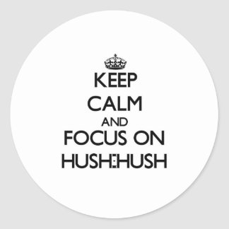 Keep Calm and focus on Hush-Hush Round Stickers