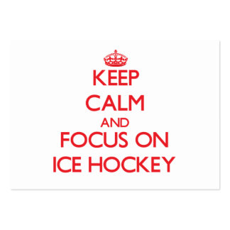 Keep Calm and focus on Ice Hockey Large Business Cards (Pack Of 100)