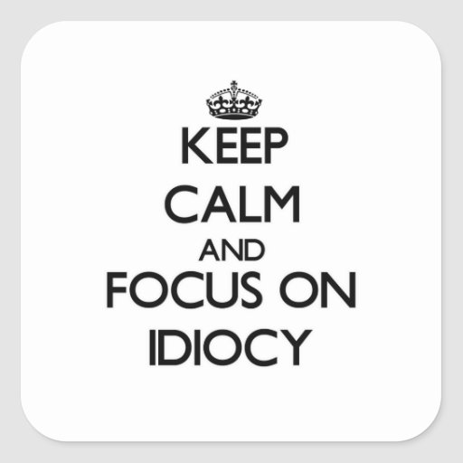 Keep Calm and focus on Idiocy Sticker