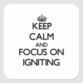 Keep Calm and focus on Igniting Square Stickers
