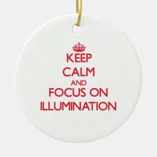 Keep Calm and focus on Illumination Double-Sided Ceramic Round Christmas Ornament