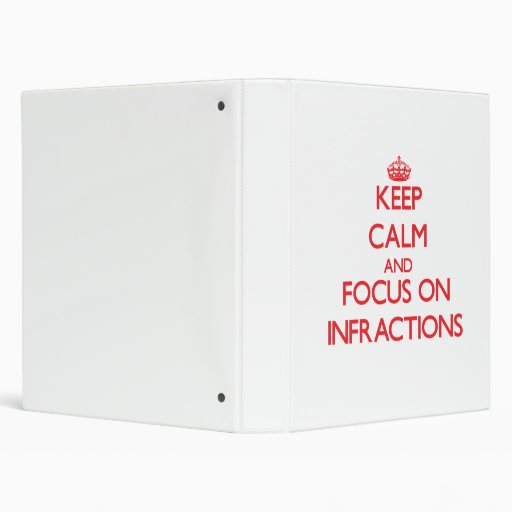 Keep Calm and focus on Infractions 3 Ring Binders