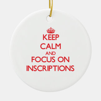 Keep Calm and focus on Inscriptions Double-Sided Ceramic Round Christmas Ornament