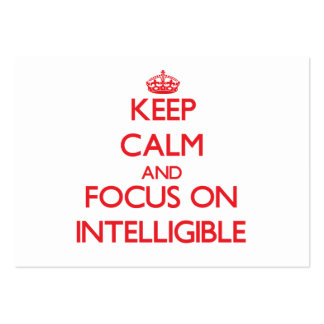 Keep Calm and focus on Intelligible Large Business Cards (Pack Of 100)