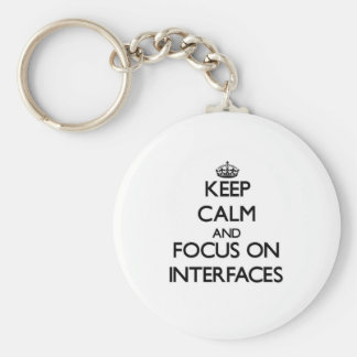 Keep Calm and focus on Interfaces Basic Round Button Keychain