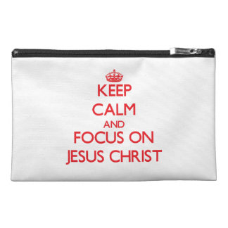 Keep Calm and focus on Jesus Christ Travel Accessories Bag
