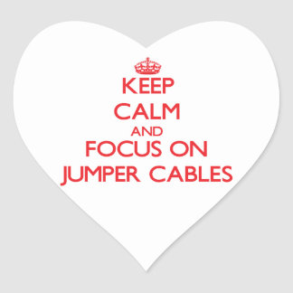 Keep Calm and focus on Jumper Cables Heart Sticker