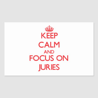 Keep Calm and focus on Juries Rectangular Stickers