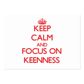 Keep Calm and focus on Keenness Large Business Cards (Pack Of 100)