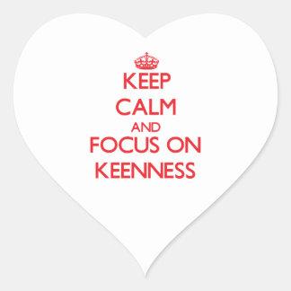 Keep Calm and focus on Keenness Heart Sticker
