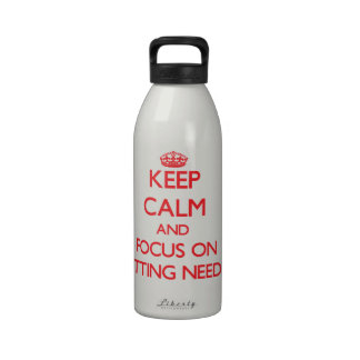 Keep Calm and focus on Knitting Needles Reusable Water Bottle