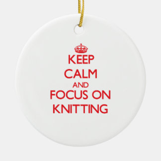 Keep calm and focus on Knitting Double-Sided Ceramic Round Christmas Ornament