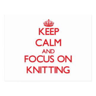 Keep calm and focus on Knitting Postcard