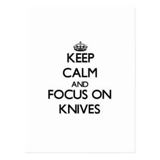 Keep calm and focus on Knives Postcard