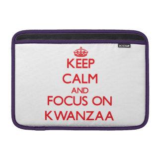 Keep Calm and focus on Kwanzaa MacBook Sleeves