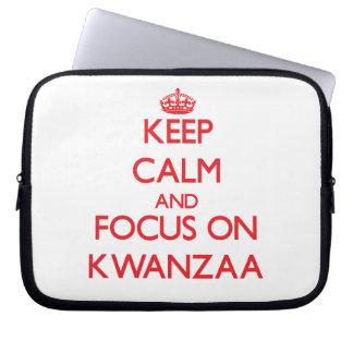Keep Calm and focus on Kwanzaa Computer Sleeves