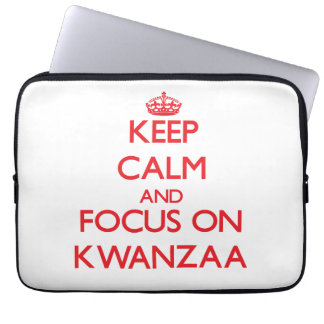 Keep Calm and focus on Kwanzaa Laptop Sleeve