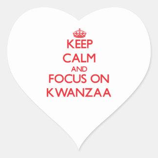 Keep Calm and focus on Kwanzaa Heart Sticker