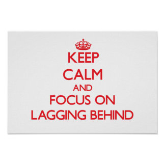 Keep Calm and focus on Lagging Behind Poster