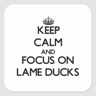 Keep Calm and focus on Lame Ducks Square Stickers