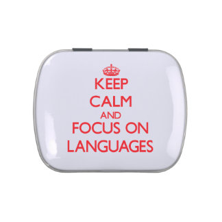 Keep Calm and focus on Languages Jelly Belly Candy Tins