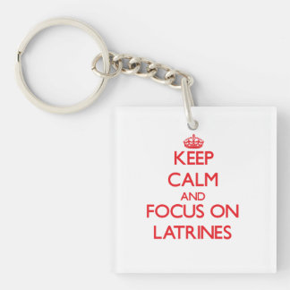Keep Calm and focus on Latrines Double-Sided Square Acrylic Keychain