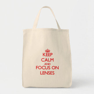 Keep Calm and focus on Lenses Tote Bags