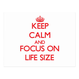 Keep Calm and focus on Life Size Post Cards