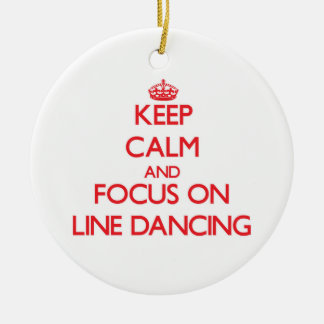 Keep Calm and focus on Line Dancing Double-Sided Ceramic Round Christmas Ornament