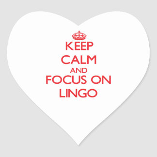 Keep Calm and focus on Lingo Heart Sticker