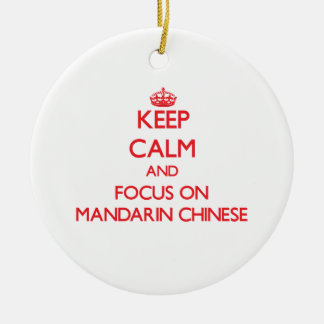 Keep Calm and focus on Mandarin Chinese Double-Sided Ceramic Round Christmas Ornament