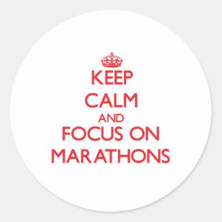 Keep Calm and focus on Marathons Round Sticker
