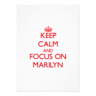 Keep Calm and focus on Marilyn Personalized Announcement