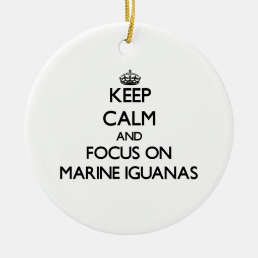 Keep calm and focus on Marine Iguanas Double-Sided Ceramic Round Christmas Ornament