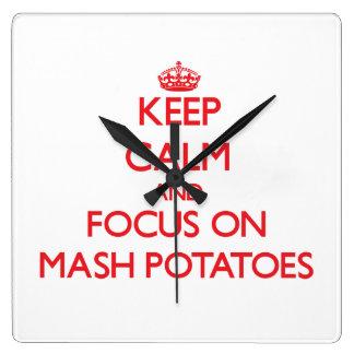 Keep Calm and focus on Mash Potatoes Wallclocks
