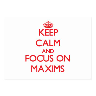 Keep Calm and focus on Maxims Large Business Cards (Pack Of 100)