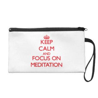 Keep Calm and focus on Meditation Wristlet Clutch