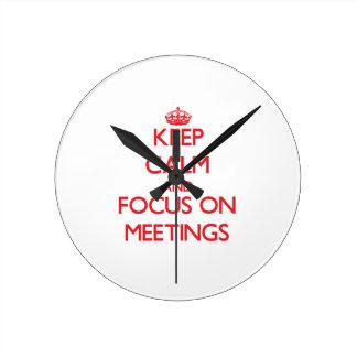 Keep Calm and focus on Meetings Wallclocks