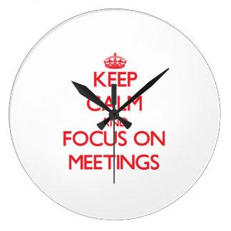Keep Calm and focus on Meetings Wall Clock