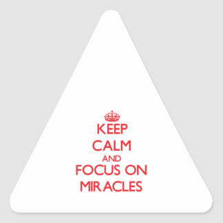 Keep Calm and focus on Miracles Triangle Stickers