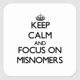 Keep Calm and focus on Misnomers Square Stickers